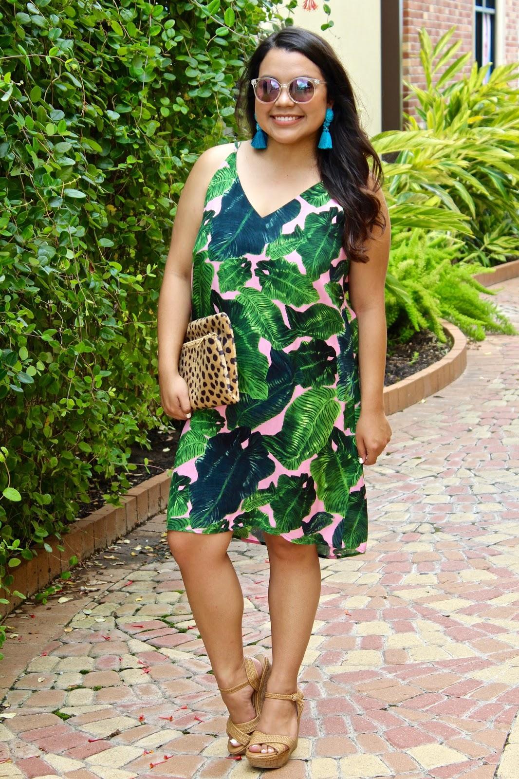 pink palm print dress