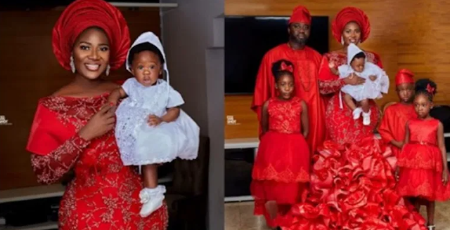 Nollywood Actress, Mercy Johnson-Okojie and hubby dedicate their 4th child in church (Photographs)