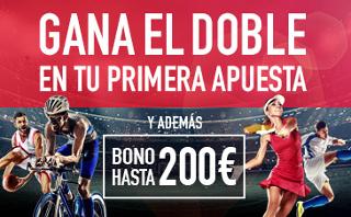 sportium gana doble primera apuesta + 200 euros bienvenida codigo JRVM