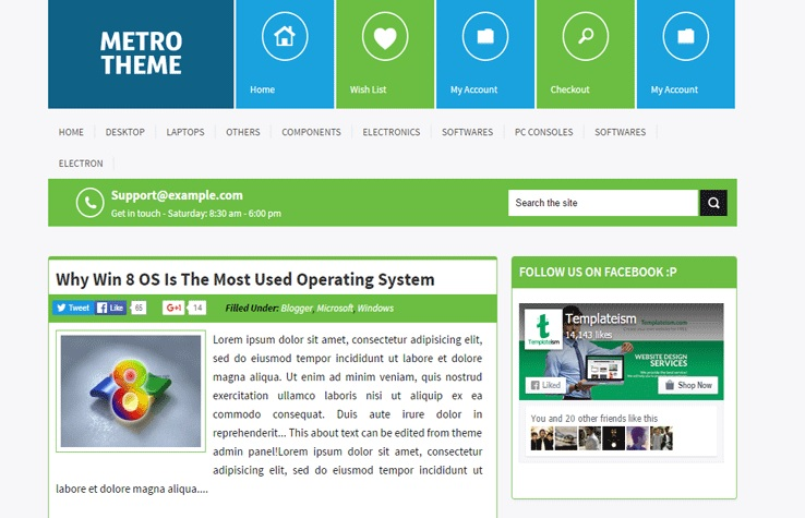 Windows Metro UI Professional Blogger Template Free Download