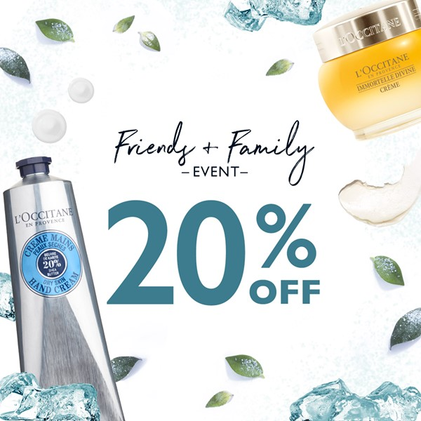 cafb9382f4b6 If you are in need of beauty items, head over to the L'Occitane Friends &  Family event going on right now in stores and online through July 19, 2018.