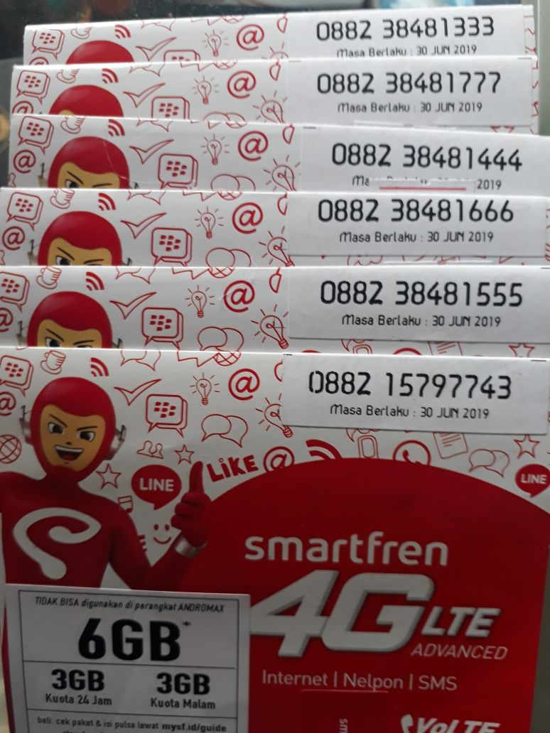 Jual Nomor Cantik Smartfren Triple Paket Data Kuota Vocher 3gb