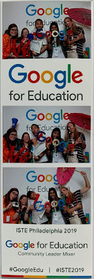 Three photos of Google Innovators being goofy with props.