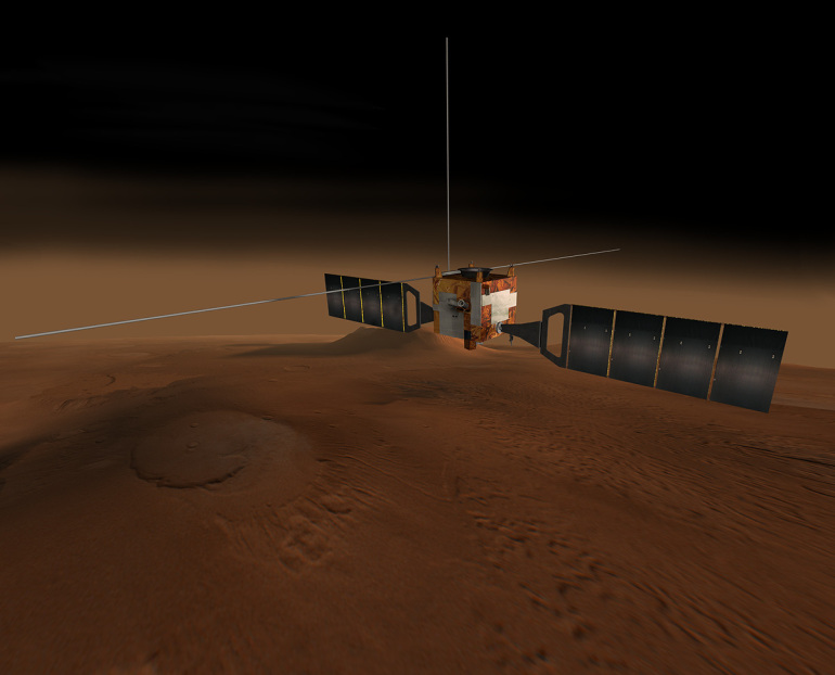 """Data sent by """"Mars Express"""" revealed the existence of about 4 lakes under the south pole of Mars (NASA)"""