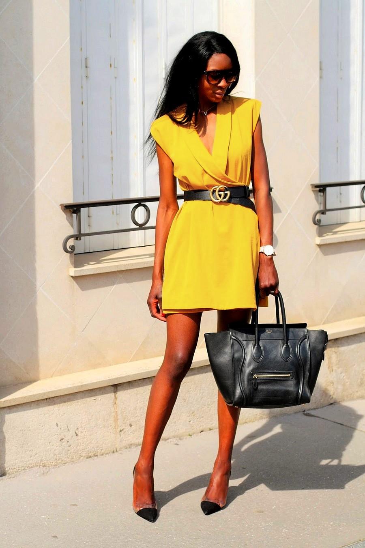 robe-jaune-zara-sac-luxe-celine-ceinture-gucci-gg