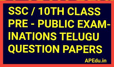 PRE - FINAL EXAMINATIONS - 2019 - 2020 First Language - TELUGU - Paper - II
