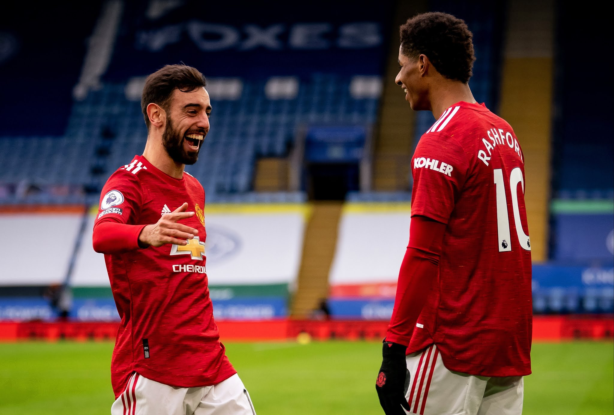 Man United's Bruno Fernandes and Marcus Rashford
