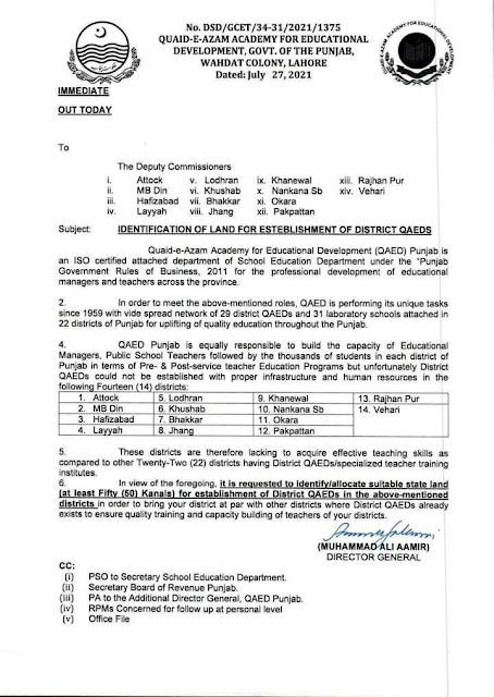 IDENTIFICATION AND ALLOCATION OF LAND FOR ESTABLISHMENT OF DISTRICT QUAID-E-AZAM ACADEMIES FOR EDUCATIONAL DEVELOPMENT (QAED)