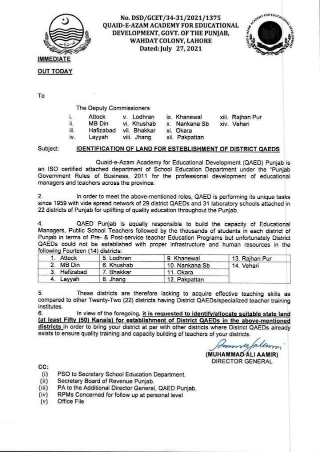 IDENTIFICATION AND ALLOCATION OF LAND FOR ESTABLISHMENT OF DISTRICT QUAID-E-AZAM ACADEMIES FOR EDUCATIONAL DEVELOPMENT