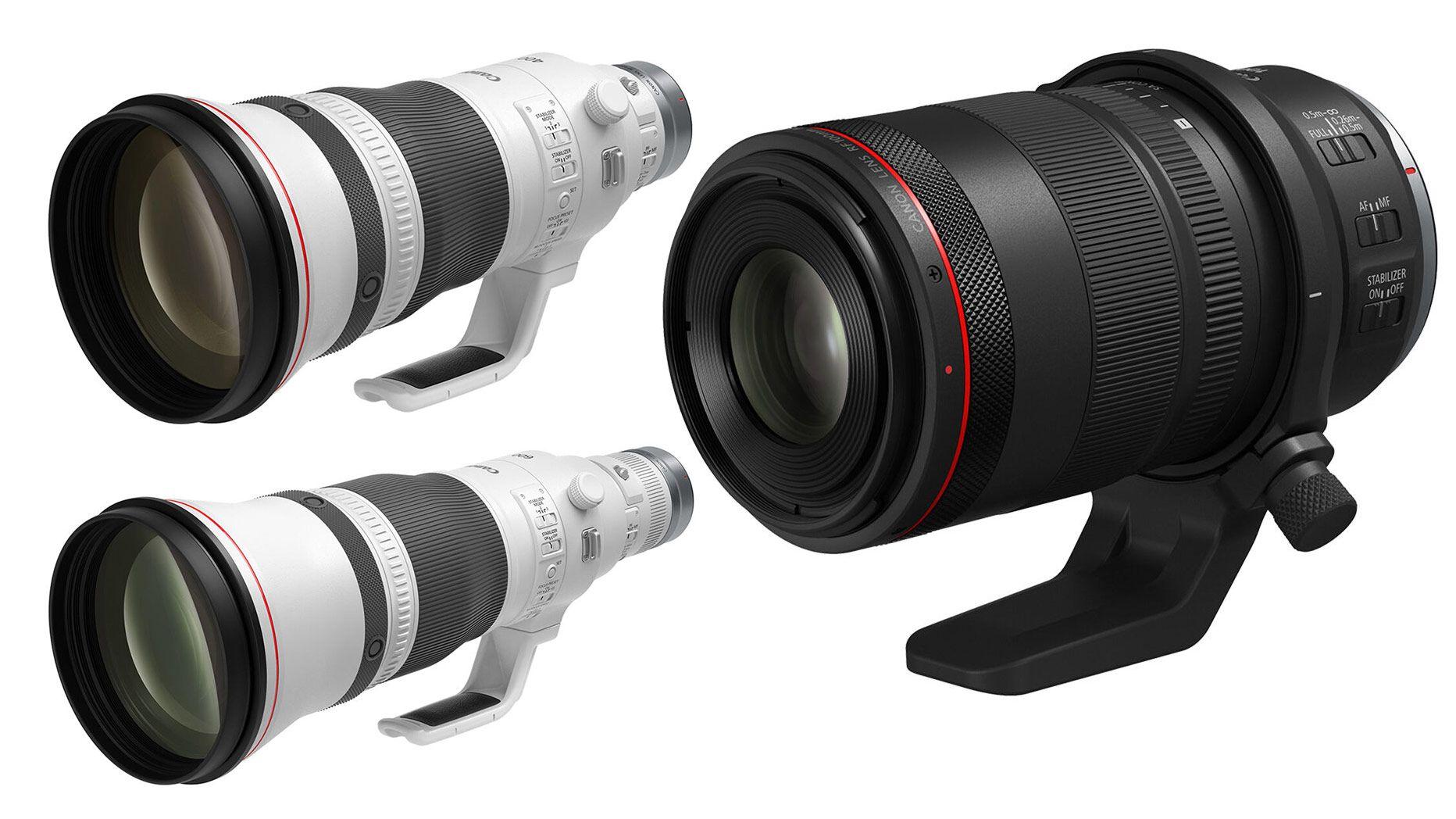 Три объектива Canon: RF 100mm Macro, RF 400mm, RF 600mm