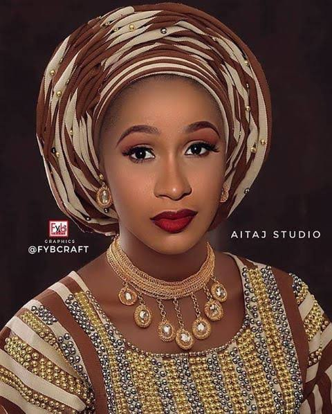 Cardi B shares picture rocking the Yoruba traditional attire