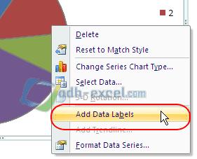 Add data labels grafik Pie Excel