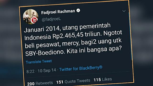 Kicauan lama akun Twitter @fadjroel yang diduga kuat milik Jurubicara Presiden Joko Widodo