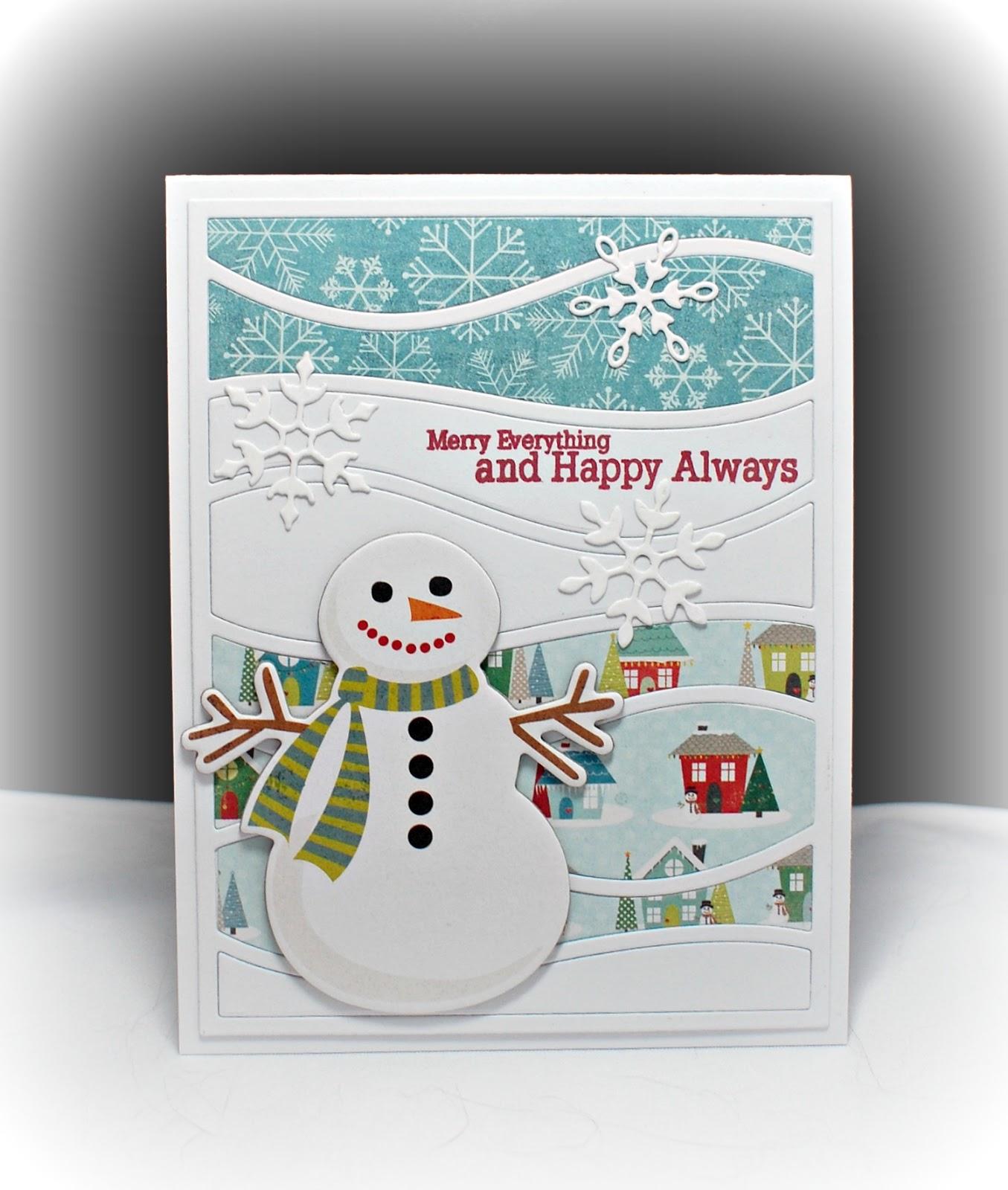 diy paper crafts snow drifts snowman christmas card