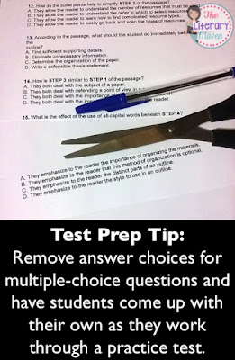 Test Prep Tip:  Remove answer choices for multiple-choice questions and have students come up with their own as they work through a practice test. Read on for more effective ways to prepare students for standardized testing.