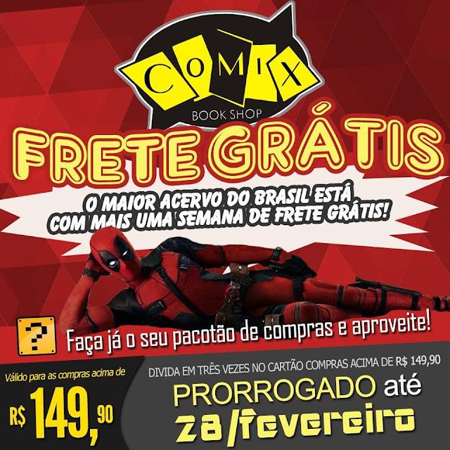 Uma imagem promocional da Comix Book Shop sobre a prorrogação da promoção com destaque para o Deadpool (Ryan Reinolds) fazendo pose