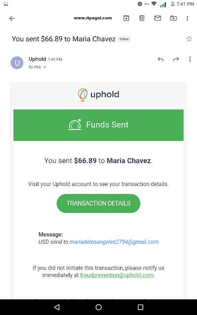 Uphold Balance Send to Airtm Peer Email address.