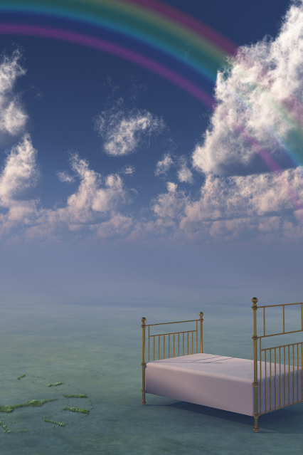 A bed set inside of a cloud, with a rainbow over it.