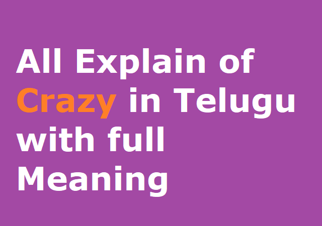 All Explain of Crazy in Telugu with full Meaning