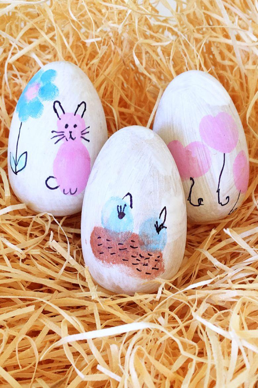 Easter egg decorating ideas - Thumbprint Easter Eggs