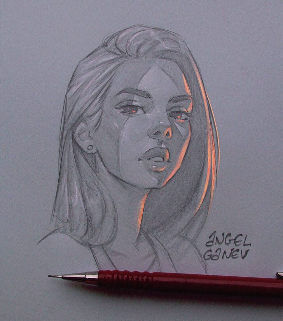 08-Orange-Light-Angel-Ganev-Luminous-Pencil-Portraits-that-Glow-www-designstack-co