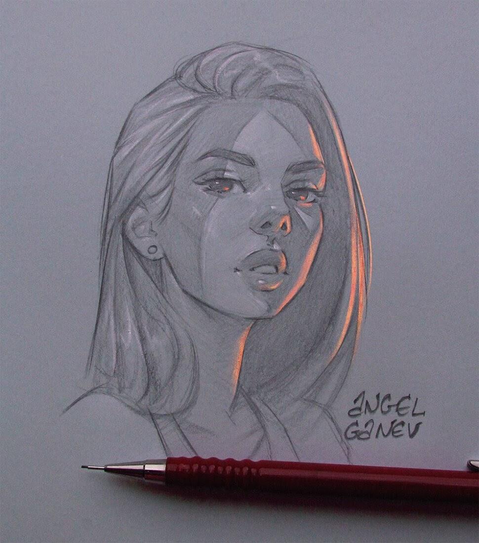 08-Orange-Light-Angel-Ganev-Luminous-Pencil-Portraits-that-Glow-www-designstack-co