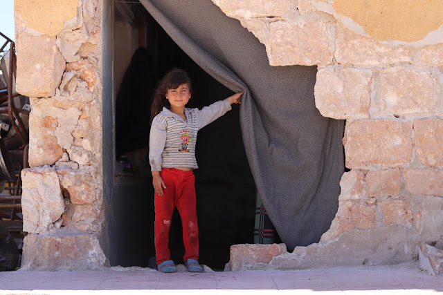 On 3 April 2018 in the Syrian Arab Republic, children stay at a school-turned shelter in Zeyarah village, north of Aleppo city.