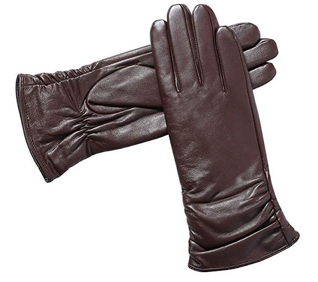 Acdyion Women's Leather Touchscreen Gloves