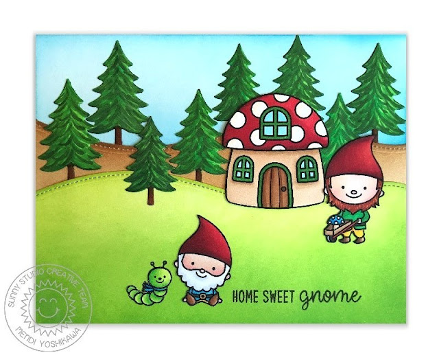 Sunny Studio Stamps: Home Sweet Gnome & Woodland Borders Mushroom House Card by Mendi Yoshikawa