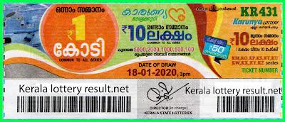 Kerala Lottery Result 18-01-2020 Karunya KR-431(keralalotteryresult.net)