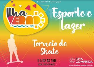 Tem torneios de Skate, Beach Tênis  e Recreação no Ilha Verão Esportivo
