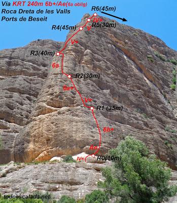 Roca Dreta de les Valls, vía KRT