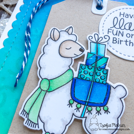 A Llama Birthday Fun Card by Zsofia Molnar | Llama Delivery Stamp Set,  Loveable Llamas Stamp Sets, Fancy Edges Tag Die Set, Frames and Flags Die Set and Confetti Stencil by Newton's Nook Designs #newtonsnook #handmade