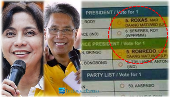 Roxas's and Robredo's names highlighted on the ballots of OFW's?