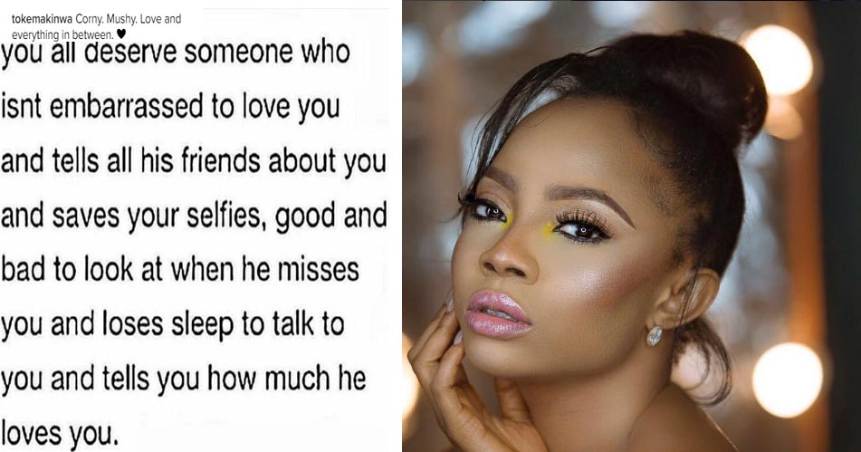 Love someone who isn't embarrassed to love you - Toke Makinwa advises other ladies