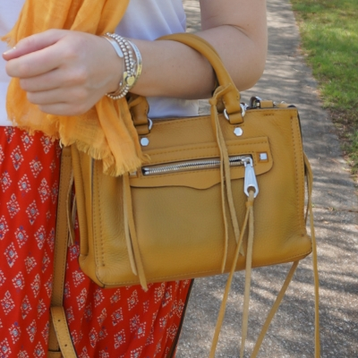 mustard scarf and red skirt with Rebecca Minkoff micro Regan satchel in Harvest Gold | awayfromtheblue