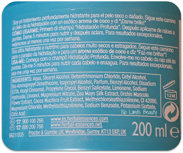 Mascarilla Hidratación Profunda de Herbal Essence (ingredientes)