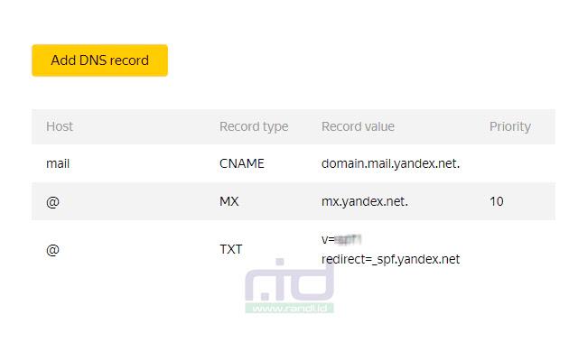 Mengatur data record Yandex di layanan domain