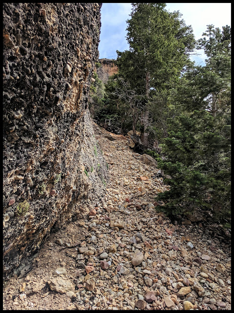 Wall of Noah's Ark.  Notice how the trail turns rocky up closer to the Ark, and how the Walls are created by those rocks cemented together. .