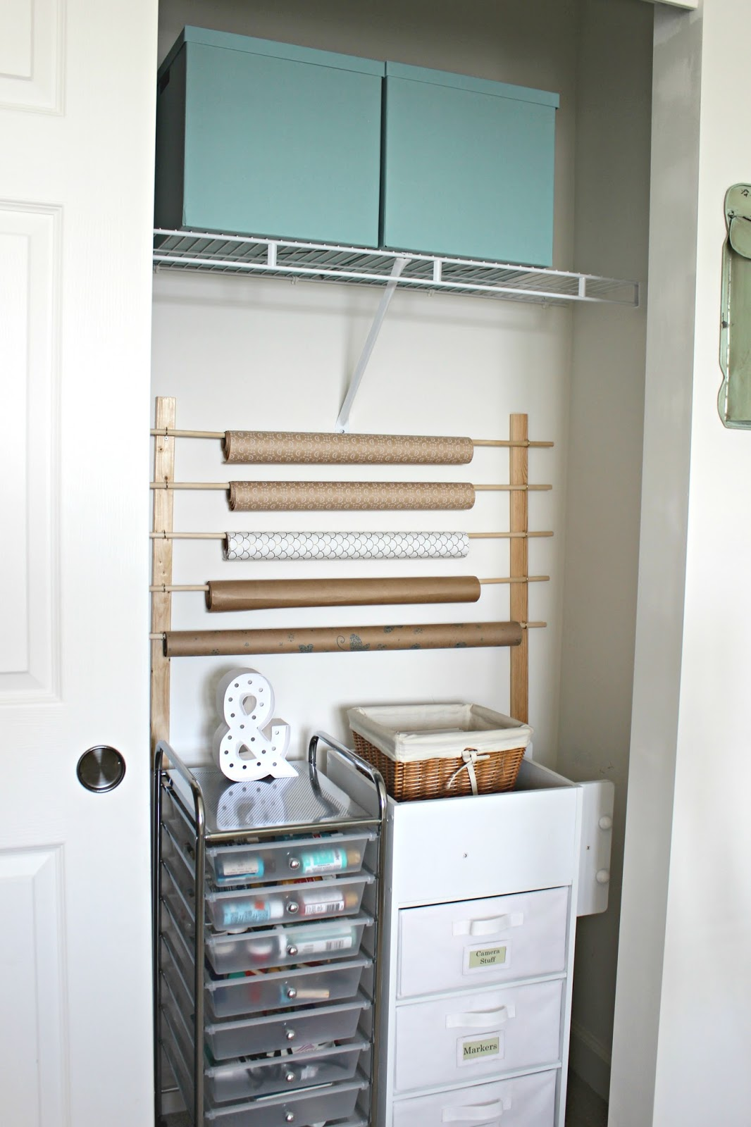 wrapping paper storage closet