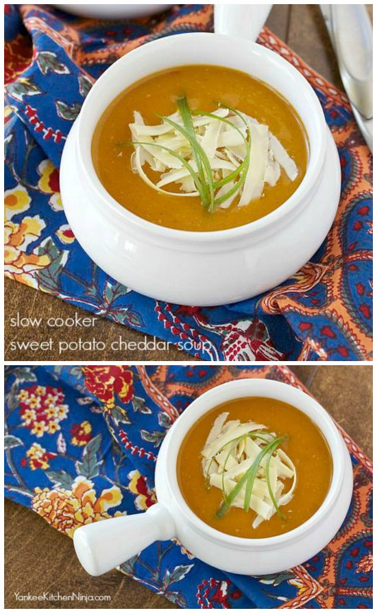 Slow Cooker Sweet Potato Cheddar Soup from Yankee Kitchen Ninja featured on SlowCookerFromScratch.com
