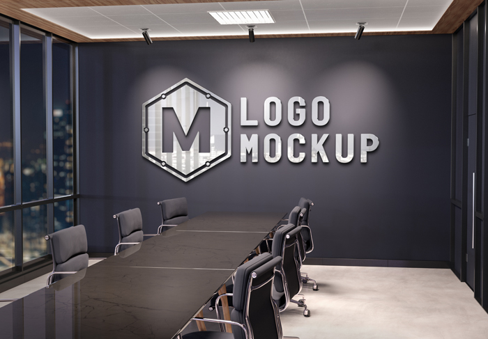 Logo On Office Wall With 3d Metal Effect Mockup