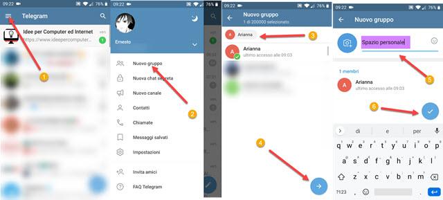 creare gruppo su telegram