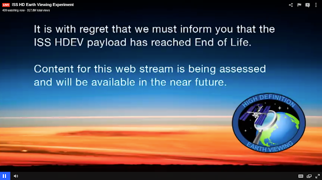 The end of life notice in the video feed of NASA's HDEV experiment. Credit: NASA.