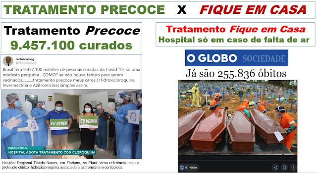 """QUEM MATOU MAIS - TRATAMENTO PRECOCE   OU O """"FIQUE EM CASA E PROCURE MÉDICO SE TIVER COM FALTA DE AR""""?"""