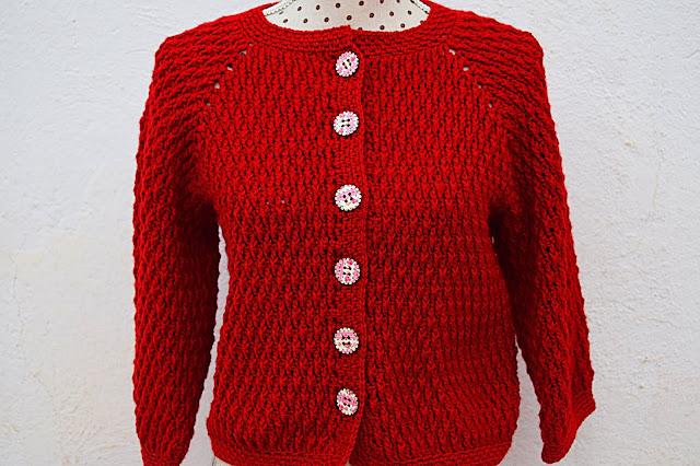 3 - Crochet imagen Chaqueta roja de mujer a crochet y ganchillo por Majovel Crochet