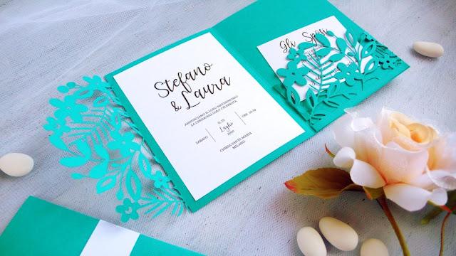 Matrimonio fai da te: Partecipazione color Arcadia effetto pizzo