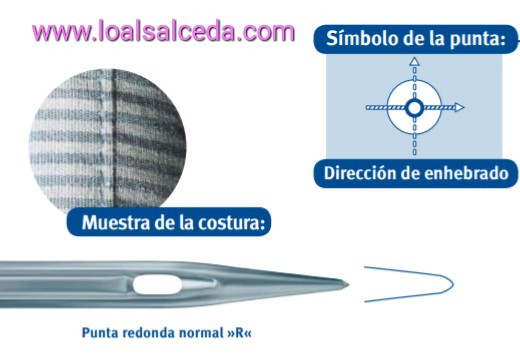 aguja de maquina de coser, aguja de punta standar, aguja punta R