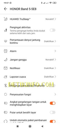 Menu setting honor band 5 di huawei helath