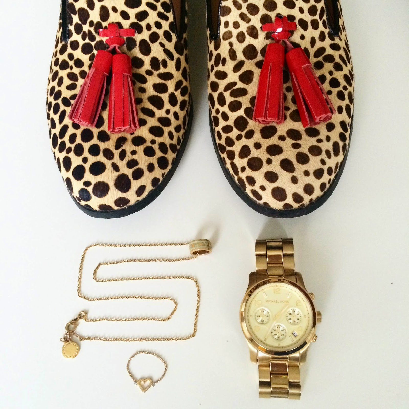 leopard fur loafers marc jacobs necklace gorjana heart ring michael kors watch